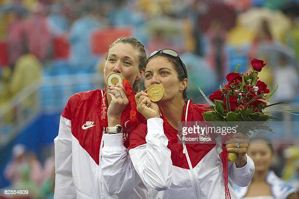 Summer Olympics: Closeup of USA Kerri Walsh and Misty May-Treanor victorious with gold medal after winning Women's Gold Medal Match vs China at...
