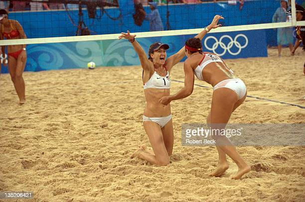 2008 Summer Olympics USA Kerri Walsh celebrates with teammate USA Misty MayTreanor after winning the Women's Gold Medal Match vs China at Chaoyang...