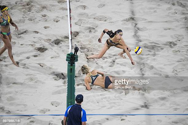 2016 Summer Olympics Germany Laura Ludwig and Kira Walkenhorst in action vs Brazil Agatha Bednarczuk Rippel and Barbara Seixas de Freitas during the...