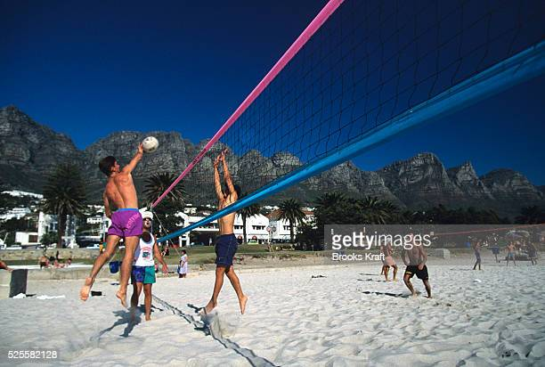 Beach volleyball at Camps Bay in Cape Town South Africa