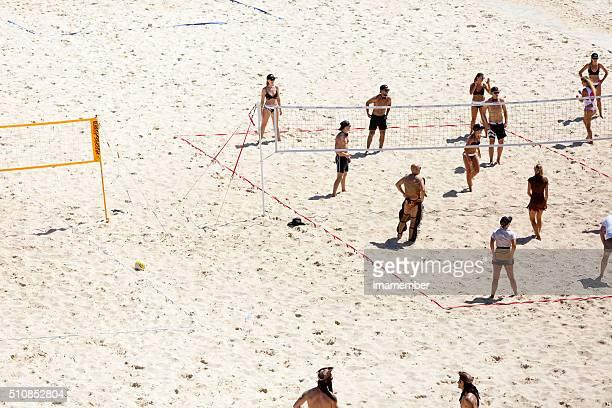 Beach volleyball at Tamarama beach, copy space