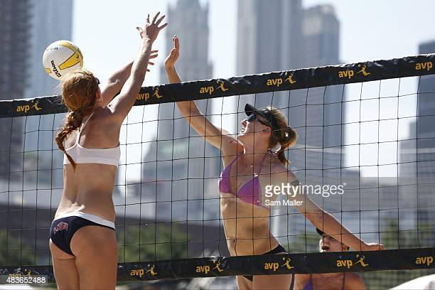 AVP New York City Open Emily Day in action vs Kelly Claes during match at Pier 25 in Hudson River Park New York NY CREDIT Sam Maller