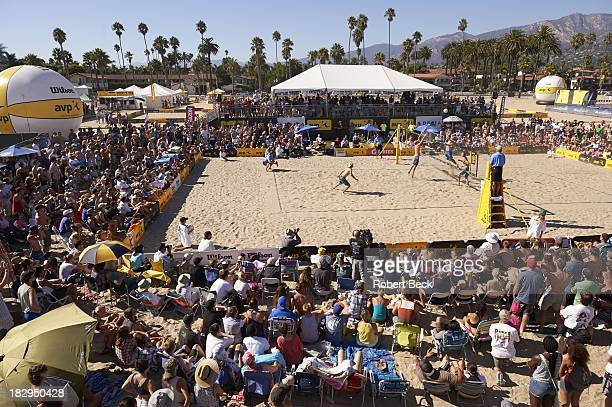 Santa Barbara Open: Overall view of Jake Gibb and Casey Patterson in action vs John Hyden and Tri Bourne in action during Men's 3rd round match at...
