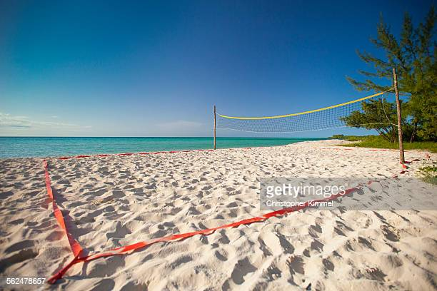 A beach volleyball court set up beside the ocean on Playa La Jaula beach, Cayo Coco, Cuba.