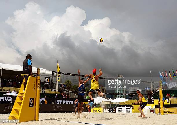 FIVB St Petersburg Grand Slam Spain Pablo Herrera Allepuz in action spike during Men's Round 1 match with Adrian Gavira Collado vs USA Stafford Slick...