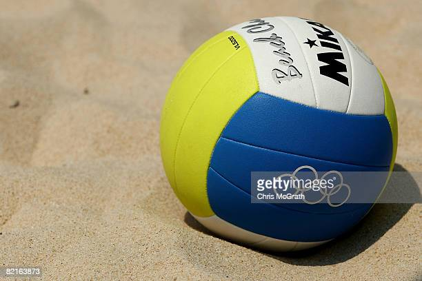 A beach volleyball lies in the sand at the Chaoyang Park Beach Volleyball Ground ahead of the Beijing 2008 Olympics on August 3 2008 in Beijing China