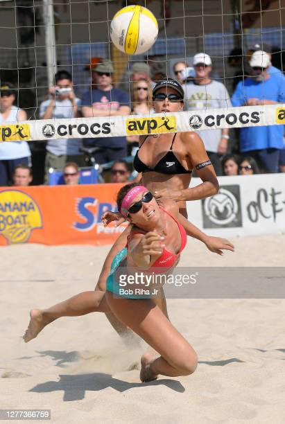 Beach Volleyball mavens Misty May-Treanor and Kerri Walsh during volleyball tournament, July 26, 2008 in Long Beach, California.