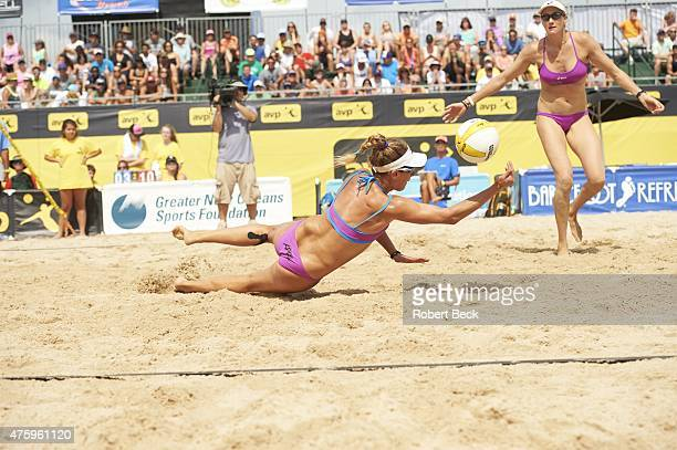 New Orleans Open April Ross in action dig as Kerri WalshJennings looks on during Women's Semifinals match vs Kendra Van Zwieten and Megan...