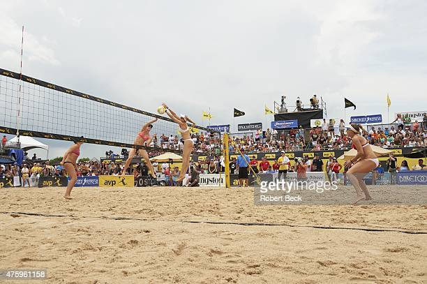 New Orleans Open Kerri WalshJennings in action block vs Emily Day during Women's Finals match on Lake Pontchartrain View of April Ross and Jennifer...