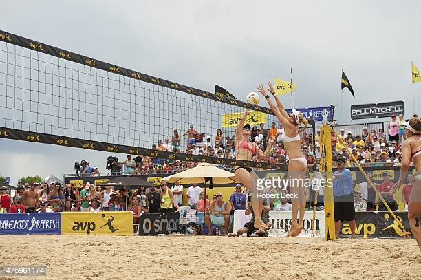 New Orleans Open Kerri WalshJennings in action block vs Emily Day during Women's Finals match on Lake Pontchartrain Kenner LA CREDIT Robert Beck