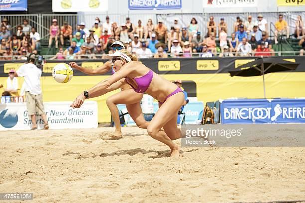 New Orleans Open Kerri WalshJennings in action with April Ross during Women's Semifinals match vs Kendra Van Zwieten and Megan WallinBrockwayon on...