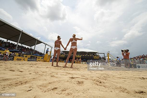 New Orleans Open Overall view of Kerri WalshJennings and April Ross on court before Women's Finals match vs Emily Day and Jennifer Kessy on Lake...