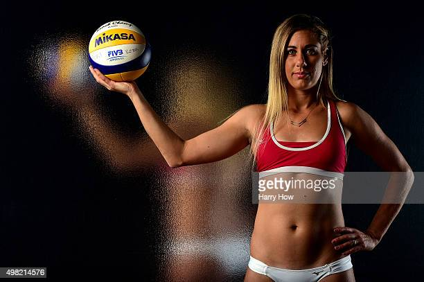 Beach volleyball player April Ross poses for a portrait at the USOC Rio Olympics Shoot at Quixote Studios on November 21 2015 in Los Angeles...