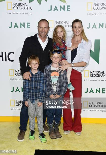 Beach volleyball players Csey Jennings and Kerri Jennings Walsh and their children arrive at the premiere of National Geographic Documentary Films'...