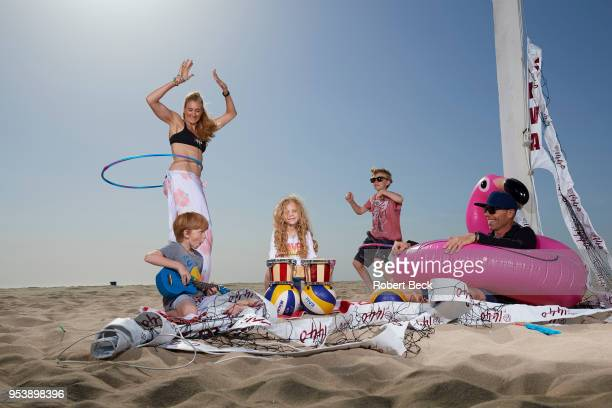 Portrait of USA Olympic gold medalist Kerri Walsh Jennings with her husband Casey Jennings and their children Joseph Sundance and Scout during photo...