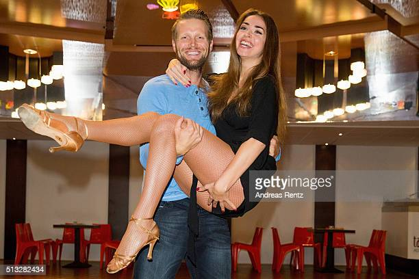 Beach Volleyball Pro Julius Brink and dancer Ekaterina Leonova pose at a photo call for the television competition 'Let's Dance' on March 2 2016 in...