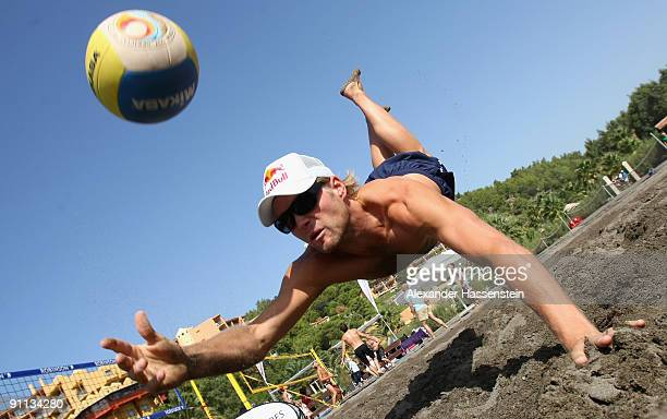 Beach volleyball World Chmapion Julius Brink fights for the ball during the 'Champion des Jahres' event week at the Robinson Club Sarigerme Park on...
