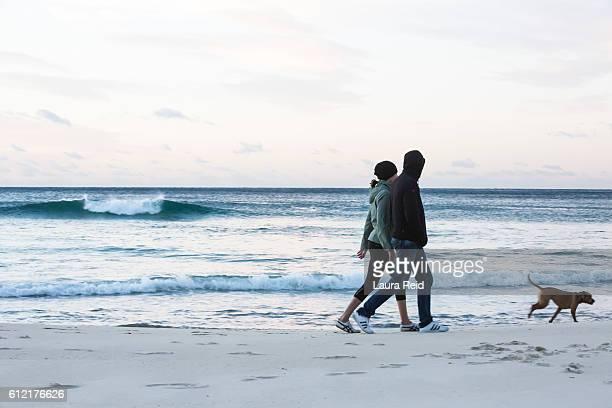 Beach walk with dog