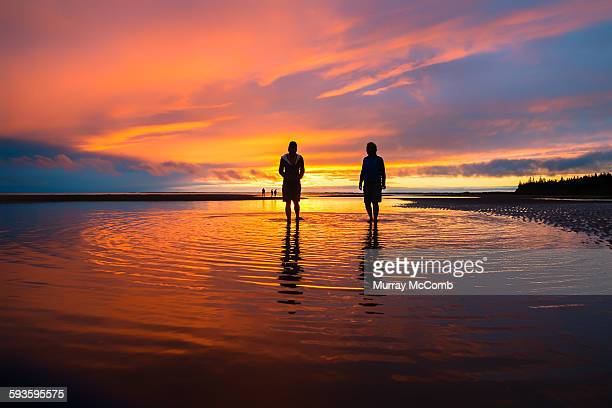 beach walkers silhouetted by sunset - murray mccomb stock pictures, royalty-free photos & images