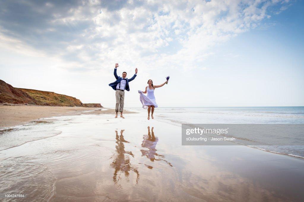Beach wedding couple. : Stock Photo