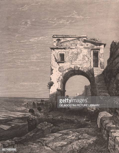 Beach with an arch next to it Savona Liguria Italy woodcut ca 27x22 cm from Italy from the Alps to Mount Etna by Karl Stieler Eduard Paulus and...