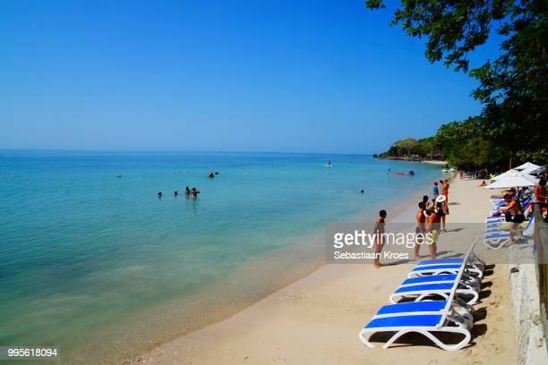 Beach with Chairs at The Corales del Rosario and San Bernardo National Natural Park, Baru, Cartagena, Colombia