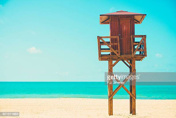 Beach with lifeguard stand