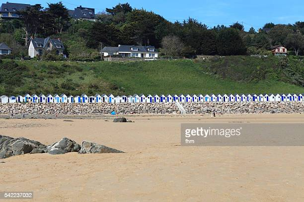 Beach with locker houses at Barneville-Carteret, Normandy/ France