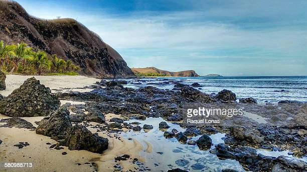 beach with sand and lava rock - western division fiji stock photos and pictures