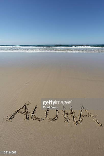 beach words - aloha stock pictures, royalty-free photos & images