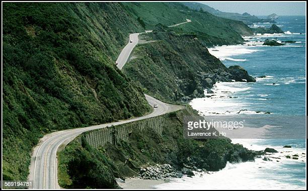 ME–Beach1LH The rugged coastline and the Pacific Coast Highway south of Big Sur near the town of Lucia Lawrence K HO