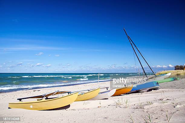 beached boats - indiana dunes national lakeshore stock photos and pictures