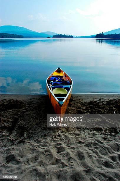 Beached canoe in the Adirondacks