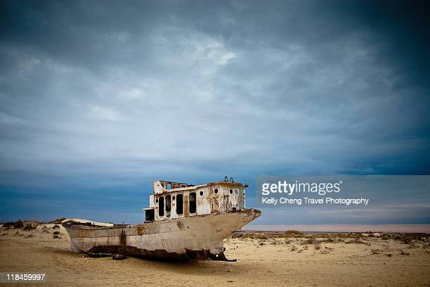 Beached ship of aral sea