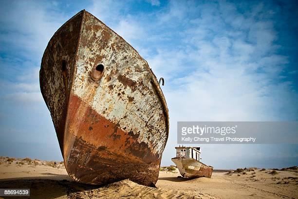 Beached ships of Aral Sea at Moynaq