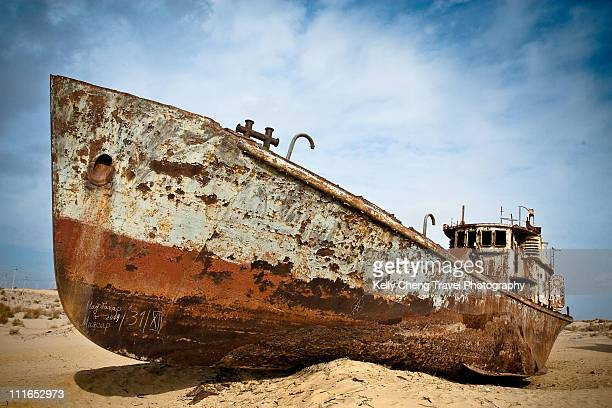 Beached ships of Aral Sea
