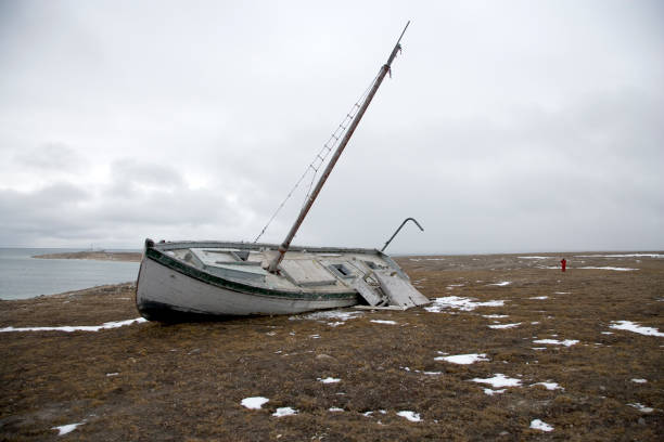 Beached shipwreck in the Canadian Arctic