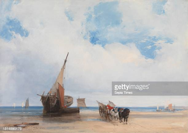 Beached Vessels and a Wagon near Trouville, Richard Parkes Bonington, 1802–1828, British, ca. 1825, Oil on canvas, Support : 14 5/8 x 20 5/8 inches ,...