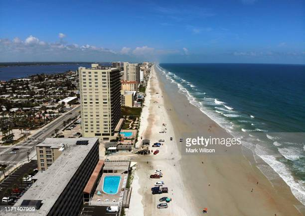 Beaches are seen as the threat of as Hurricane Dorian remains offshore of Florida on August 31 2019 in Daytona Beach Florida Dorian could be a...