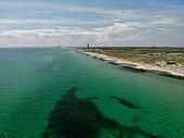 aerial view beaches grenen at skagen