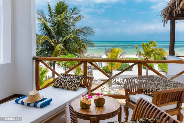 beachfront bungalow with sea view - tourist resort stock pictures, royalty-free photos & images