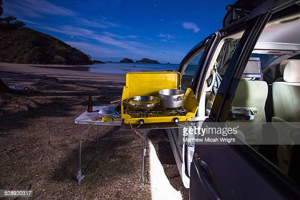 Beachfront car camping in Matauri Bay.