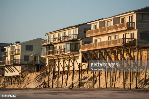 Beachfront condos show damage from Hurricane Irma on September 13 2017 in Vilano Beach Florida Nearly 4 million people remained without power more...