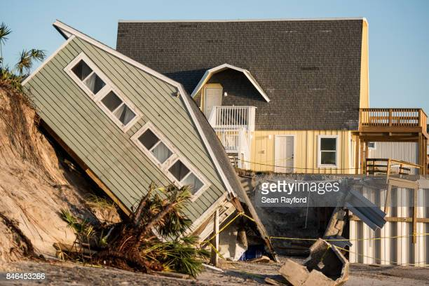 A beachfront home shows damage from Hurricane Irma on September 13 2017 in Vilano Beach Florida Nearly 4 million people remained without power more...