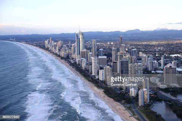 Beachfront hotels at Surfers Paradise on the Gold Coast on April 7 2017 in Gold Coast Australia The 2018 Commonwealth Games will be held on the Gold...