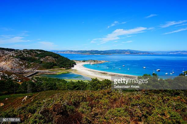 Beachfront of Cies islands, Galicia, Spain