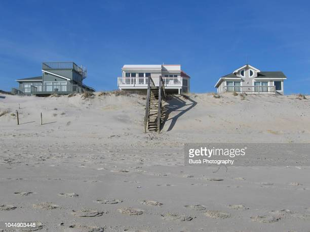 Beachfront wooden houses in Surf City, New Jersey, USA