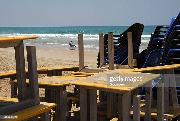 A beachgoer sits in the water on an empty beach in Haifa Israel Monday July 17 2006