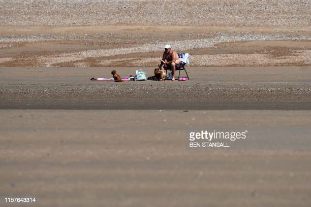 A beachgoer sits with his dogs as he enjoys the sunshine by the sea in Camber Sands southern England on July 25 during a heatwave in Britain