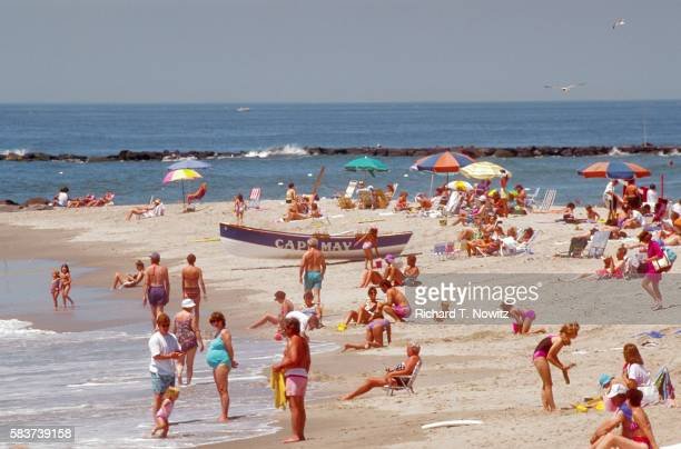 beachgoers in cape may - cape may stock pictures, royalty-free photos & images